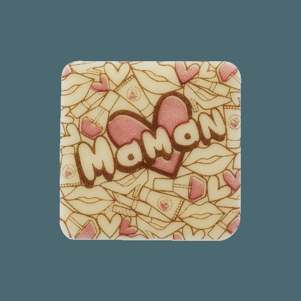 plaquette en chocolat avec ecriture maman et coeurs roses