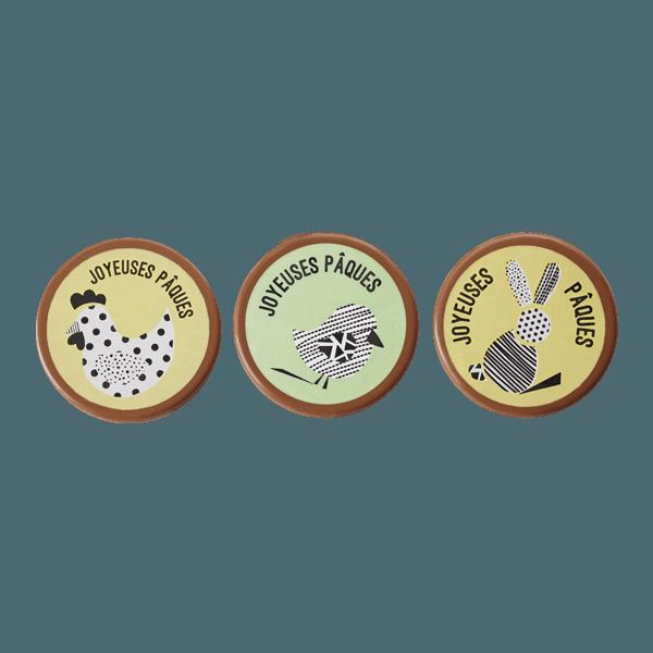 plaquette de paques assortiment 3 modeles avec une poule un oiseau et un lapin