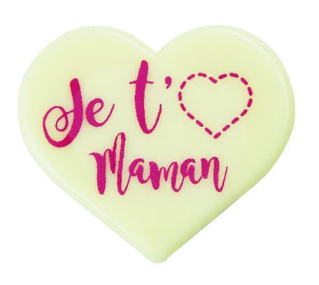 coeur en chocolat blanc ecrit je t'aime maman