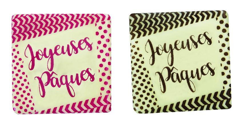 plaquette en chocolat aavec ecriture joyeuses paques