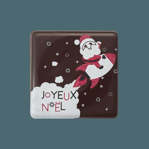 plaquette en chocolat avec pere noel et fusee