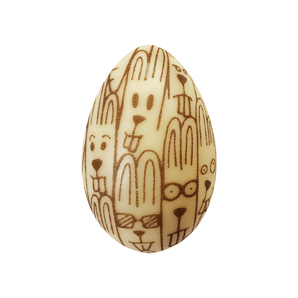 oeuf de paques chocolatree avec tetes de lapin